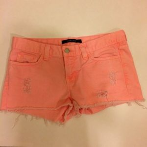 J Brand Coral Distressed Denim Shorts Size 26
